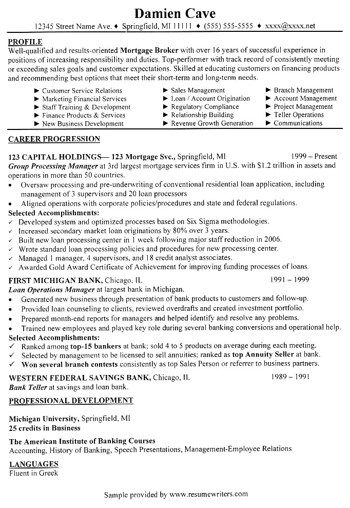 Mortgage Broker Sample Resume