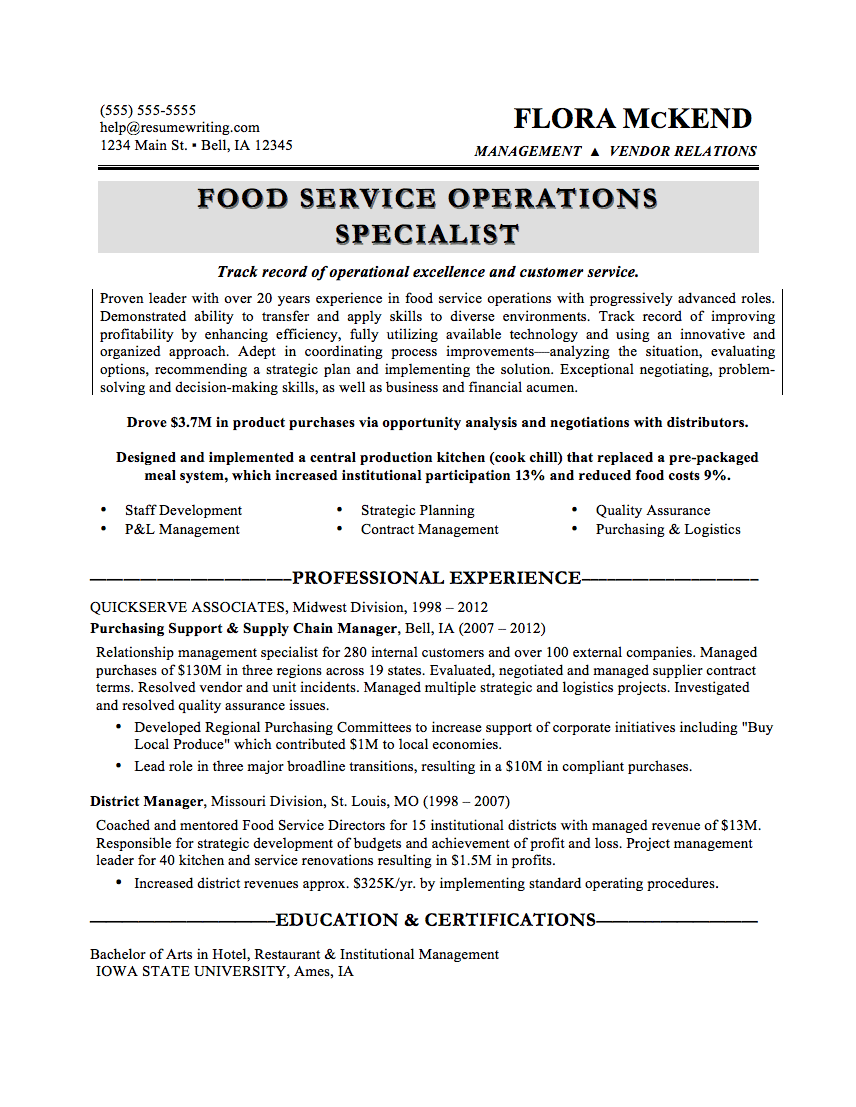 Food Service  Sample Customer Service Resumes
