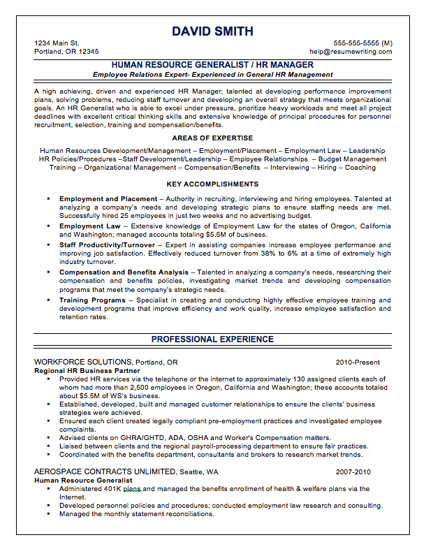 sample resume for human resourse generalist This is a free sample hr generalist, human resources generalist resume that you can use to create a template for your needs.